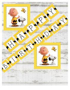 Peanuts Happy Birthday BannerInstant Digital by Pressedpaper