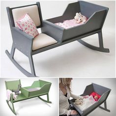 DIY rocking chair cradle with a crib , it helps the mother to monitor her baby's sleep while comfortably sitting in a rocking chair.#diy #cradle #baby