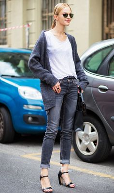 Don't lie, loyal Who What Wear readers—we know you love a good skinny-jean look. As simple as it may seem, wearing a cardigan with a white T-shirt, skinny jeans, and some strappy heels will result in an ultra-cool vibe.