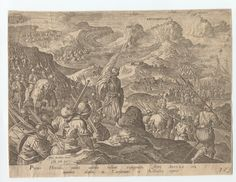 1550 - 80 - Stradanus, 1523-1605 (artist) - Portus Herculis multis castellis hortium expugnatis. One of a collection of 5 engraved plates by Heinrich Gol(t)s(iu)s and Philip Galle after Stradanus, of military scenes showing armies of Charles V and the Medici in campaigns against the Turks. Figures walking and on horseback, some with spears, one with flag. Because of the stylized art, I suspect the artist was trying to compare the Emperor to classical/Roman emperors.