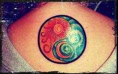 Tattoo. Yin yang sun moon.