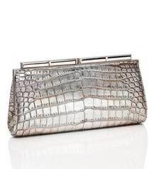 Judith Leiber Aurelie Crocodile Handbag in Antique Silver