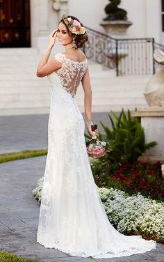 satin sheath illusion neckline stella york 2016 wedding dresses 6118
