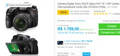 Câmera Digital Sony DSLR Alpha A57 16.1 MP Lentes Intercambiáveis Lente SAL 18-55mm << R$ 179900 em 10 vezes >>