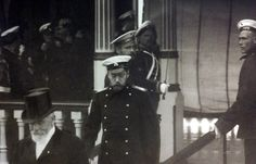 Tsar Nicholas II and French President Raymond Poincaré boarding the Imperial yacht ALEXANDRIA at a navy pier in St. Petersburg, July 1914