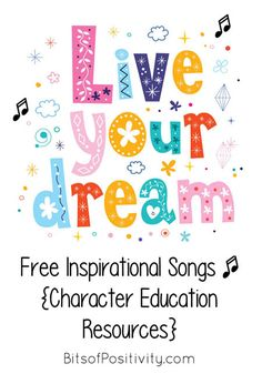 Free Inspirational Songs Character Education Resources – Bits of Positivity Motivational Songs, Motivational Thoughts, Inspirational, Music For Kids, Kids Songs, Music Express Magazine, Preschool Music, Preschool Ideas