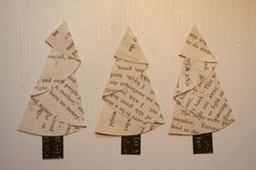 Vintage Paper Christmas trees made from half a circle christmas cards, paper christma, christma tree, book pages, children books, paper trees, christmas trees, old books, half circl