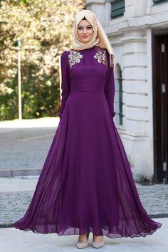 Aramiss - Omuzları Detaylı Mürdüm Elbise - Tesetturisland.com