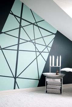 Creating an accent wall can be more than just adding paint color. See five inspiring accent wall ideas that can totally transform any room in your home. Modern wall paint design home decor idea Geometric Wall Paint, Geometric Painting, Diy Wall Painting, Creative Wall Painting, Painted Wall Art, House Painting, Home Painting Ideas, Light Painting, Diy Wand