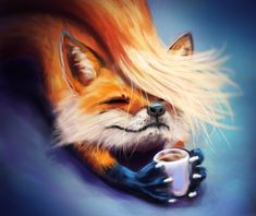 171203 CoffeeFox by Noxility on DeviantArt - 171203 CoffeeFox by Foxeus - Animals And Pets, Baby Animals, Cute Animals, Cute Animal Drawings, Cute Drawings, Furry Art, Art Fox, Fuchs Baby, Fuchs Illustration