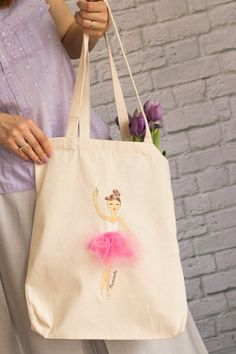 PERSONALISED Name Favour Party Gift Loot Canvas Tote BagBallet Girl