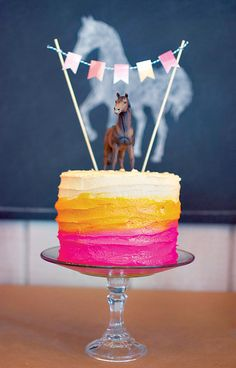 Artistic Ombre & Watercolor Horse Birthday Party, i like the cake idea, Change up colors for McKay.