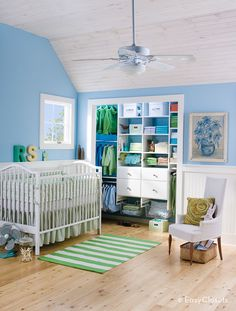 Stylish Nursery Closet Organizer for Attractive Child's Room — Home Furniture Ideas Baby Room Closet, Boys Closet, Closet Space, Make A Closet, Simple Closet, Closet Redo, Baby Boy Rooms, Baby Bedroom, Babies Nursery