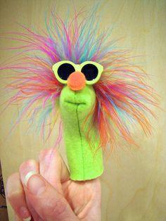 Beach Boy Bruce fleece puppet w/ marabou by CreatedForYouByUs