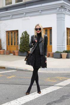 Black/black/black ( Lace Dresses & Leather Jackets )
