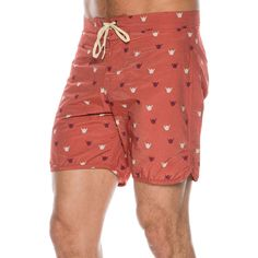"""Mollusk Shaka boardshort.      Men's boardshort.      Shaka print.      Velcro fly with waist tie.      Ousteam: 16 inches.      Cotton, nylon blend.      Machine wash cold, hang dry.      Made in USA.      Vendor style #: MS1268.           Size & Fit Guide        Model is wearing a Size: 32      Model's height: 6'2.5""""     Shirt: 16 inches      Waist: 33 inches      Inseam: 34 inches"""