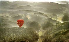 Hot Air Balloon In The Mist
