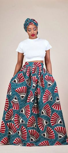 """Shaitou Skirt. Relaxed yet sophisticated and, best of all, universally flattering – just look how it nips in the waist – a full, high waisted skirt is an instant game-changer with two side pockets and approximately 2"""" waist band.     Ankara 