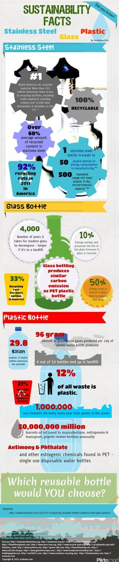Comparing Reusable Water Bottles on Sustainability: Stainless Steel, Glass, and Plastic {Infographic} | Dr. Karen S. Lee - Wholistic Health Practitioner