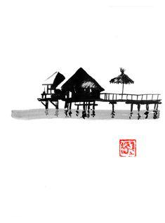 need some holidays ? #holidays #sea Bungalow, Sumi E Painting, Landscape Drawings, Buy Art, Paper Art, Saatchi Art, Original Art, Cinema, Poster Prints
