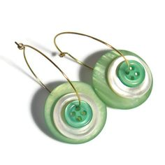 Mother of Pearl Earrings, Button Earrings, Hoop Earrings