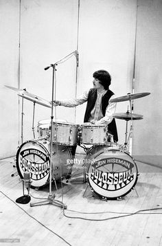 Jon Hiseman from Colosseum performs live at the drum kit at the Radiohouse recording studio in Copenhagen, Denmark in April 1969.