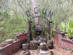 Shrine to Ogun, Orisha of iron, technology and progress. Wicca, Magick, Yemaya Orisha, Yoruba Religion, Voodoo Hoodoo, World Religions, Catholic Saints, The Conjuring, Gods And Goddesses