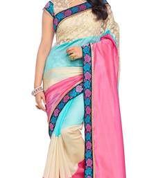 Buy Pink printed art silk saree with blouse south-indian-saree online