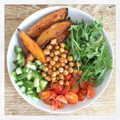 The Best Lunch Bowl  Serves 1  – 1 small sweet potato  – a handful of rocket (arugula)  – 1/2 a can of chickpeas  – 1/3 of a large cucumber  – half a dozen cherry tomatoes  – 1/2 a teaspoon of chilli flakes  -1/4 of a teaspoon of cinnamon