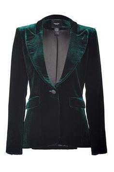 I had a green velvet blazer but got rid of it 3 years ago. I miss that blazer. Green Blazer, Green Jacket, Blazer Jacket, Velvet Blazer, Velvet Jacket, Green Wedding Suit, Smythe Blazer, Green Tuxedo, Velvet Smoking Jacket