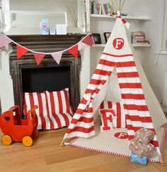 LOVELIMEKIDS-Teepee Play Tent - Tipi - Personalized Red and White Stripe