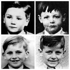 The Beatles as tots:  From left to right: John, Paul, George, and Ringo John looks just like my brother Mike when he was little.