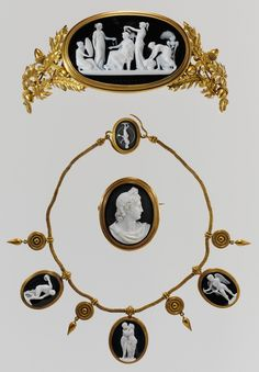 Parure (tiara, necklace, and brooch), Cameos carved by Luigi Saulini (Italian, 1819–1883), Designer of Diadem (a) John Gibson (British, Gwynedd, Wales 1790–1866 Rome), ca. 1860, Italian, Onyx and gold, tortoiseshell
