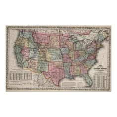 Vintage United States Map (1860) Poster