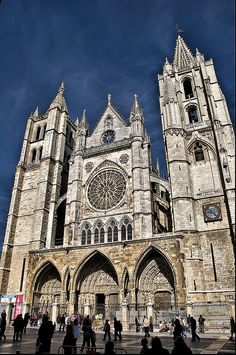 León's gothic Cathedral, Spain on the Camino de Santiago trail