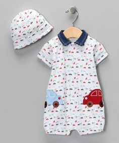 Take a look at this White Transportation Romper & Beanie - Infant by Rumble Tumble on @zulily today!
