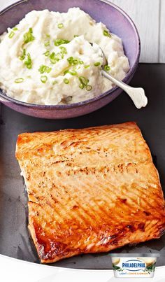 Here's an everyday recipe with a twist the whole family will love. Pan-fried salmon meets the perfect sidekick in cauliflower mash. A blend of Philly Chive & Onion Light Cream Cheese and cauliflower creates a delicious, new alternative to potatoes.