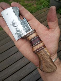 "Bill Skaggs Custom Knives, #billskaggsknives, 1/4"" 5160, Leather, Tin, Oak, Purple Heart, Box Elder"