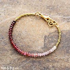 Ombre white to marsala red spinel bracelet, Karen Hill Tribe brass, minimal bracelet, stackable bracelet, gemstone beaded bracelet by NanandBiz