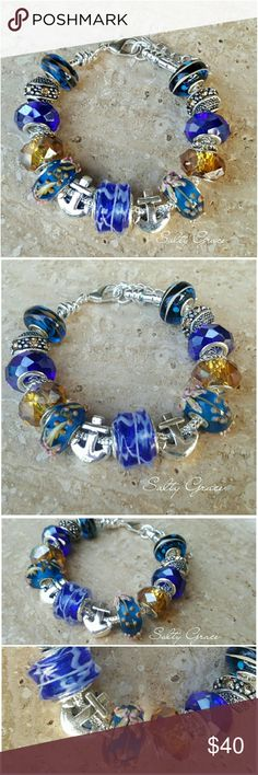 Anchor blue beach charm bracelet Fine detailed glass beads surrounded by premium quality multi faceted glass, and crystal spacers, with two anchor charms. Placed on a silver plated snake chain, can be moved to another bracelet option if requested. Designed and created by hand, not mass produced, which means each piece is thoughtfully hand selected. Makes a special gift for yourself or someone else. Custom orders welcome. Discounts given on bundles. Salty Grace  Jewelry Bracelets