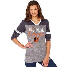 Soft As A Grape Baltimore Orioles Women's Black/Gray Bullpen Color Block V-Neck Long Sleeve T-Shirt, size large
