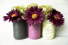 Mother's Day / Spring - Home Decor - Painted and Distressed Mason Jars - Vase. $18.00, via Etsy.