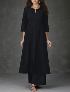 Buy Black A Line Khadi Cotton Kurta with Tagai Work Women Kurtas Online at Jaypore.com