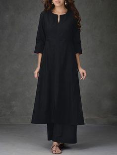 Buy Black A Line Khadi Cotton Kurta with Tagai Work Women Kurtas Online at Jaypore.com