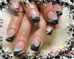 New ideas for french pedicure designs white silver glitter New Nail Designs, Pedicure Designs, French Nail Designs, Simple Nail Designs, Acrylic Nail Designs, Fingernail Designs, Acrylic Nails, Silver Glitter Nails, Black Nails