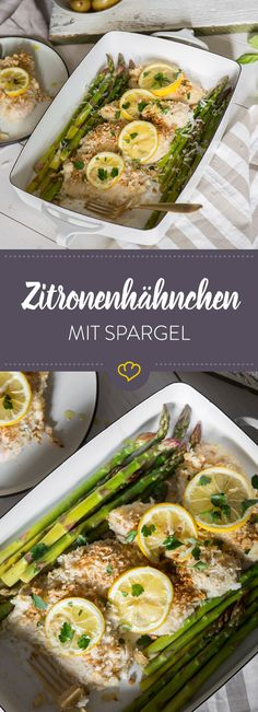 Zitronenhähnchen en Parmesankruste y crujiente de los Espárragos trigueros o contribuyen conjuntamente a buen Humor. Zitronenhähnchen con Parmesankruste y Espárragos verdes Baked Salmon Recipes, Chicken Recipes, Clean Eating, Healthy Eating, Healthy Food, Baked Garlic, Parmesan Crusted, Asparagus Recipe, Green Asparagus