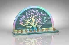 Art Glass & Metal Menorah - Tree of Life Menorah III at Zion Judaica.com