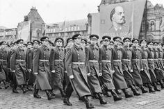 Soviet Army officer-scholars of Soviet military academies marching through Red Square in the 1963 Moscow October Revolution Day Parade.