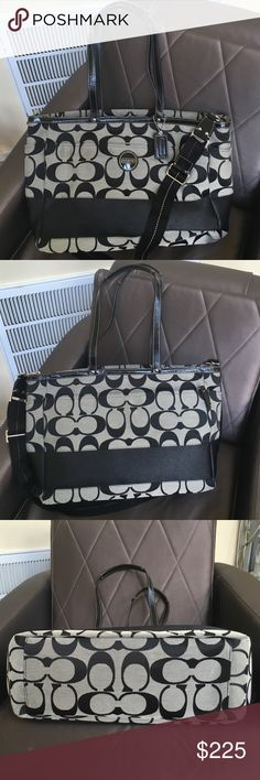 Extra Large Signature Striped Coach Tote F15188 Extra Large Signature Striped Coach Tote F15188, canvas and leather. There is a lot of room and can be utilized as a tote, diaper bag or laptop bag. 12 in tall 18 in wide 6 in deep. It has handles and a detachable shoulder strap. Outside are 4 slip pockets, front, back both sides. Inside 5 slip pockets and one zip pocket, and a compartment separator. The bag itself zips closed up top. It is in excellent condition with no apparent wear that I…