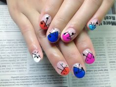 Interesting and Fun Colorful Japanese Nail Art Manicure Abstract Geometric Triangular Triangles